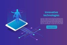 Цифровые технологии Контроль и испытание цифрового процесса, анализа возможностей производства и сбыта Концепция современного диз иллюстрация штока