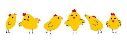 Цыпленок установил 6 желтых птиц бесплатная иллюстрация