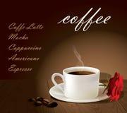 Чашка кофе на деревянной таблице иллюстрация штока