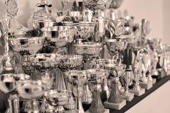 Чашки спорт, трофеи на полке, золотой и серебряный изображение принципиальной схемы 3d представило победу стоковые изображения rf