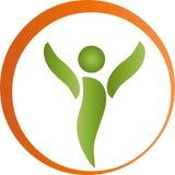Человек на движении, фитнесе и спорт, логотипе naturopaths иллюстрация вектора