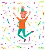 Человек Redhead бородатый весело скачет на день рождения иллюстрация штока