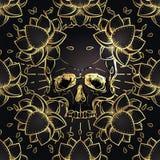 Человеческая картина черепа и лотоса безшовная геометрия священнейшая Символ Ayurveda сработанности и баланса Дизайн плоти татуир иллюстрация вектора