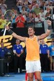 Чемпион Рафаэль Nadal грэнд слэм 17 времен Испании празднует победу после его спички полуфинала на открытом чемпионате Австралии  стоковые изображения