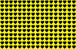 Черная форма сердца на желтой предпосылке Сердца ставят точки дизайн Смогите быть использовано для цели иллюстрации, предпосылки, иллюстрация вектора