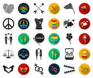 Чернота гея и лесбиянка, плоские значки в установленном собрании для дизайна Сексуальные меньшинство и атрибуты vector сеть запас бесплатная иллюстрация