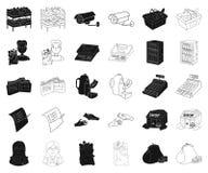 Чернота супермаркета и оборудования, значки плана в установленном собрании для дизайна Приобретение сети запаса символа вектора п иллюстрация штока