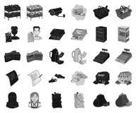 Чернота супермаркета и оборудования, monochrome значки в установленном собрании для дизайна Приобретение запаса символа вектора п иллюстрация штока