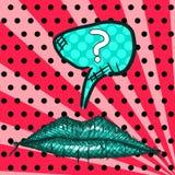 Чертеж искусства попа эскиза губы на яркой предпосылке стоковая фотография rf