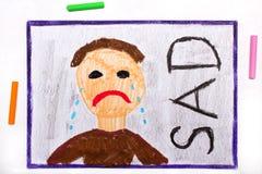 Чертеж: Плача грустный человек и слово ГРУСТНЫЕ иллюстрация штока