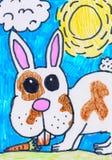 Чертеж ребенка s Кролик с морковью Зайчик на лужайке на солнечный день иллюстрация вектора