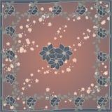 Чувствительная милая картина шарфа с цветками в ультрамодных цветах на коричневой предпосылке Флористическая печать для шарфа, тк бесплатная иллюстрация