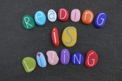 Чтение живет, культурная цитата с multi покрашенными покрашенными камнями над черным вулканическим песком стоковое фото rf