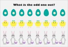 Что нечетное одно вне для детей, зайчик пасхи, цыпленок в стиле мультфильма, игре для детей, preschool рабочем листе образования  иллюстрация вектора