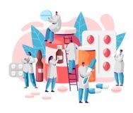 Характер аптеки медицины дела фармации Забота аптекаря для пациента Профессиональная фармацевтическая наука Онлайн таблетка иллюстрация штока