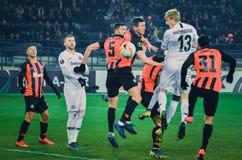 ХАРЬКОВ, УКРАИНА - 14-ое февраля 2019: Футболист во время матча лиги Европы UEFA между Shakhtar Донецком против Eintracht стоковое фото rf