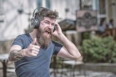 Хипстер человека бородатый с музыкой наушников слушая Хипстер наслаждается высококачественным звуком песни в наушниках Получите м стоковые изображения