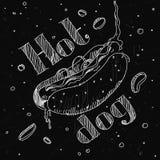 """Хот-дог изображения в меле стиля на классн классном с литерностью """"хот-дог """" иллюстрация штока"""