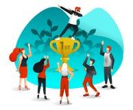 Работник успешно достигает цели, празднует путем стоять в первом трофее и оцененный коллегами Плоский стиль шаржа Vec иллюстрация вектора