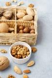 Различные гайки - миндалина, грецкий орех, фундук, пекан, гайка Бразилии стоковые фото