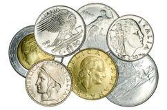 Различные итальянские монетки стоковая фотография