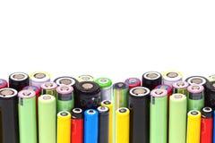 Различные размеры литий-ионных аккумуляторов стоковое фото rf