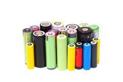 Различные размеры литий-ионных аккумуляторов стоковые фотографии rf