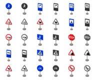 Разные виды мультфильма дорожных знаков, значки monochrom в установленном собрании для дизайна Вектор знаков предупреждения и зап иллюстрация вектора
