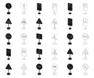 Разные виды дорожных знаков чернят, конспектируют значки в собрании комплекта для дизайна Вектор знаков предупреждения и запрета бесплатная иллюстрация