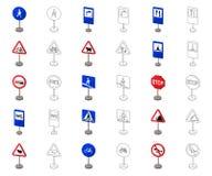 Разные виды шаржа дорожных знаков, значки плана в собрании комплекта для дизайна Вектор знаков предупреждения и запрета иллюстрация штока