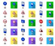 Разные виды шаржа дорожных знаков, плоские значки в собрании комплекта для дизайна Вектор знаков предупреждения и запрета бесплатная иллюстрация