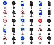 Разные виды шаржа дорожных знаков, черные значки в собрании комплекта для дизайна Вектор знаков предупреждения и запрета бесплатная иллюстрация
