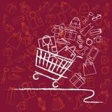 Разнообразие магазинной тележкаи полное продуктов стоковое фото