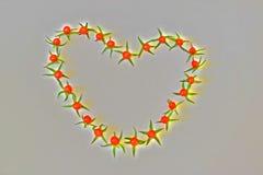 Рамка из помидоров в виде сердца на темном фоне. Frame of small tomatoes in the shape of a heart Royalty Free Stock Image