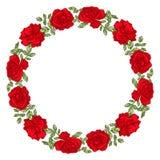 Рамка круга вектора с красными розами иллюстрация вектора