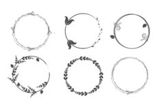 Рамки круга Венки для дизайна, шаблона логотипа иллюстрация штока