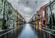 Рано утром в Вильнюсе, Литва стоковое фото