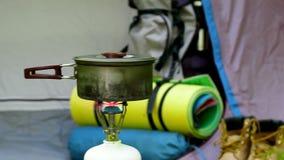 Располагаться лагерем в зеленом лесе видеоматериал
