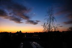 Рассвет в зиме стоковое фото rf