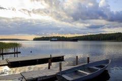 Рассвет на Lake Ladoga стоковые изображения