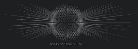 Расширение жизни Предпосылка взрыва сферы вектора Небольшие частицы стремятся из центра Запачканные debrises в лучи иллюстрация штока