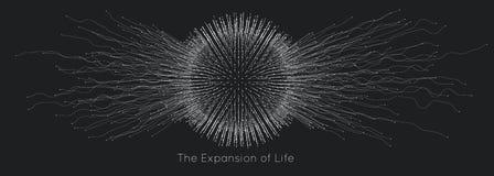 Расширение жизни Предпосылка взрыва сферы вектора Небольшие частицы стремятся из центра Запачканные debrises в лучи бесплатная иллюстрация