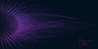 Расширение жизни Предпосылка взрыва сферы вектора Небольшие частицы стремятся из центра Красочные запачканные debrises бесплатная иллюстрация