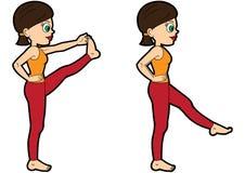 Расширение ноги положения набора asana йоги переднее иллюстрация вектора