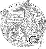 Расцветка, папоротник леса и улитки иллюстрация штока