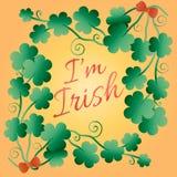 Расцелуйте меня, я ирландский Типографский плакат стиля на день ` s St. Patrick Помечать буквами дизайн футболки Торжество дня St иллюстрация штока