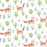 Ребяческая картина с лисами эскиза в лесе иллюстрация вектора