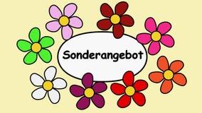 Реклама видео- 4k Deutsch формулирует особенное предложение Цветки летая вокруг предложения слов особенного