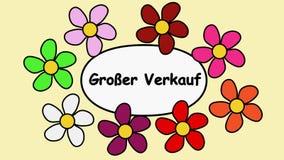 Реклама видео- 4k Deutsch со словами распродает Цветки летая вокруг текста распродают
