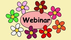 Рекламирующ зажим видео- 4k с надписью webinar Цветки летая вокруг текста webinar